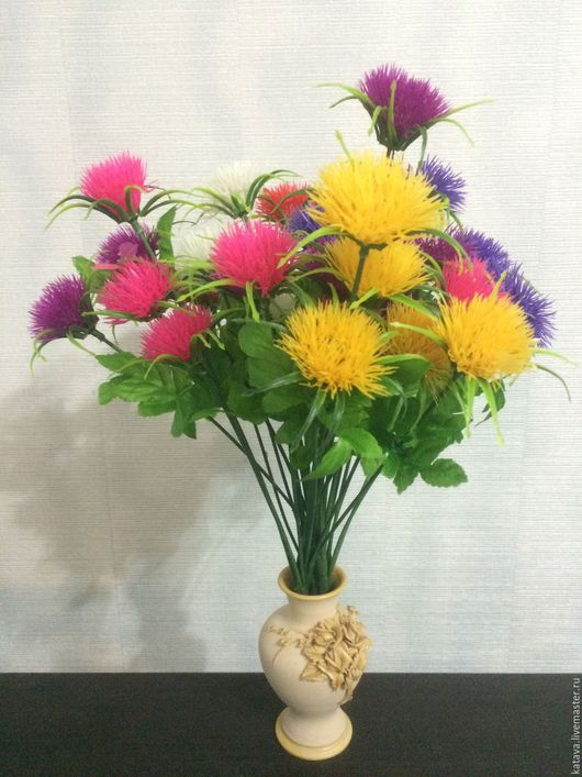 Искусственные растения ручной работы. Ярмарка Мастеров - ручная работа. Купить Одуванчик цветной. Handmade. Комбинированный, искусственная зелень