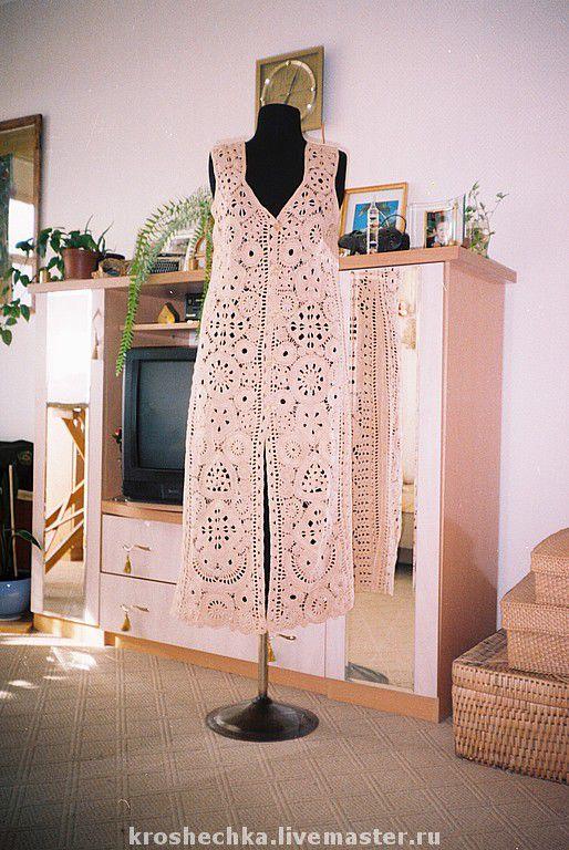 Cotton knit crochet vest 'Pearl', Vests, Ekaterinburg,  Фото №1