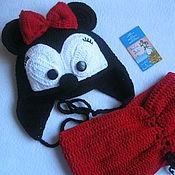 Аксессуары handmade. Livemaster - original item SET MICKEY MOUSE Hat and cowl for girls knitted. Handmade.