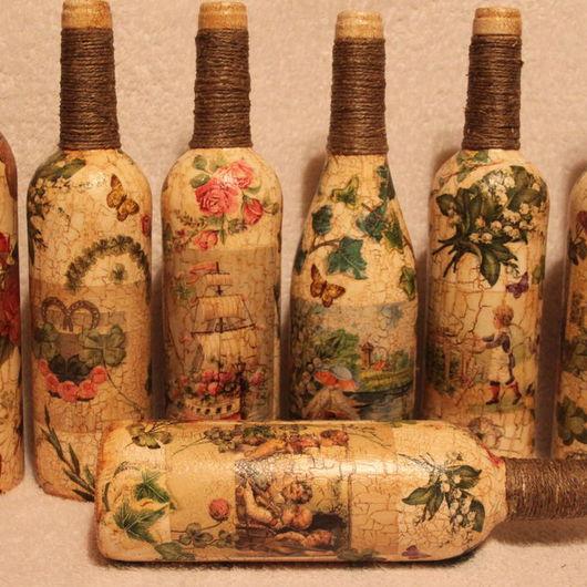 Персональные подарки ручной работы. Ярмарка Мастеров - ручная работа. Купить Декор  бутылки к 8 марта. Handmade. Бежевый