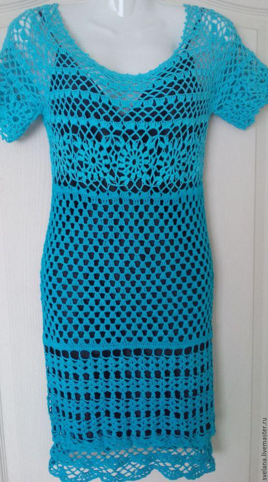 Платья ручной работы. Ярмарка Мастеров - ручная работа. Купить платье летнее. Handmade. Тёмно-бирюзовый, однотонный, хлопок мерсеризованный