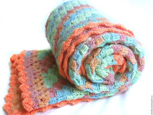 """Пледы и одеяла ручной работы. Ярмарка Мастеров - ручная работа. Купить Плед """"Веселая мозаика"""" салатово-оранжевый. Handmade. Комбинированный"""