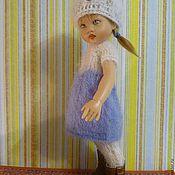 """Куклы и игрушки ручной работы. Ярмарка Мастеров - ручная работа Вязаное платье с белой кокеткой для куклы Kish 7.5"""" Riley. Handmade."""