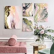 Картины и панно handmade. Livemaster - original item Art lottery. Creating a personal picture of pink smoke abstraction. Handmade.