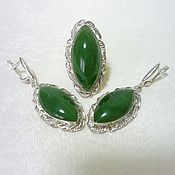 Украшения handmade. Livemaster - original item A set of jade. Handmade.