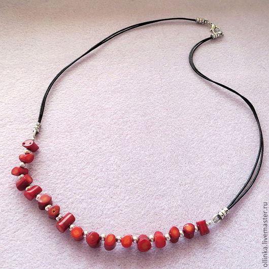 """Колье, бусы ручной работы. Ярмарка Мастеров - ручная работа. Купить Ожерелье """" Майя"""". Handmade. Ярко-красный, серебро"""