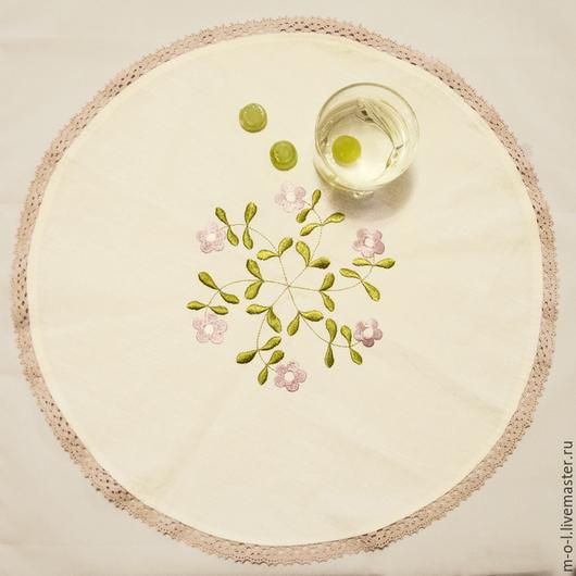 Кухня ручной работы. Ярмарка Мастеров - ручная работа. Купить Льняная салфетка с машинной вышивкой «цветочная». Handmade. Белый