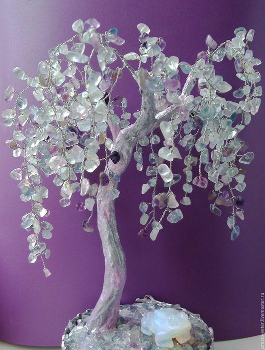 Деревья ручной работы. Ярмарка Мастеров - ручная работа. Купить Плакучая ива из флюорита. Handmade. Голубой, фиолетовый, Дерево счастья