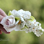 Украшения ручной работы. Ярмарка Мастеров - ручная работа Зажим для волос Крыло ангела Белая сирень, роза, гортензия, яблоня. Handmade.
