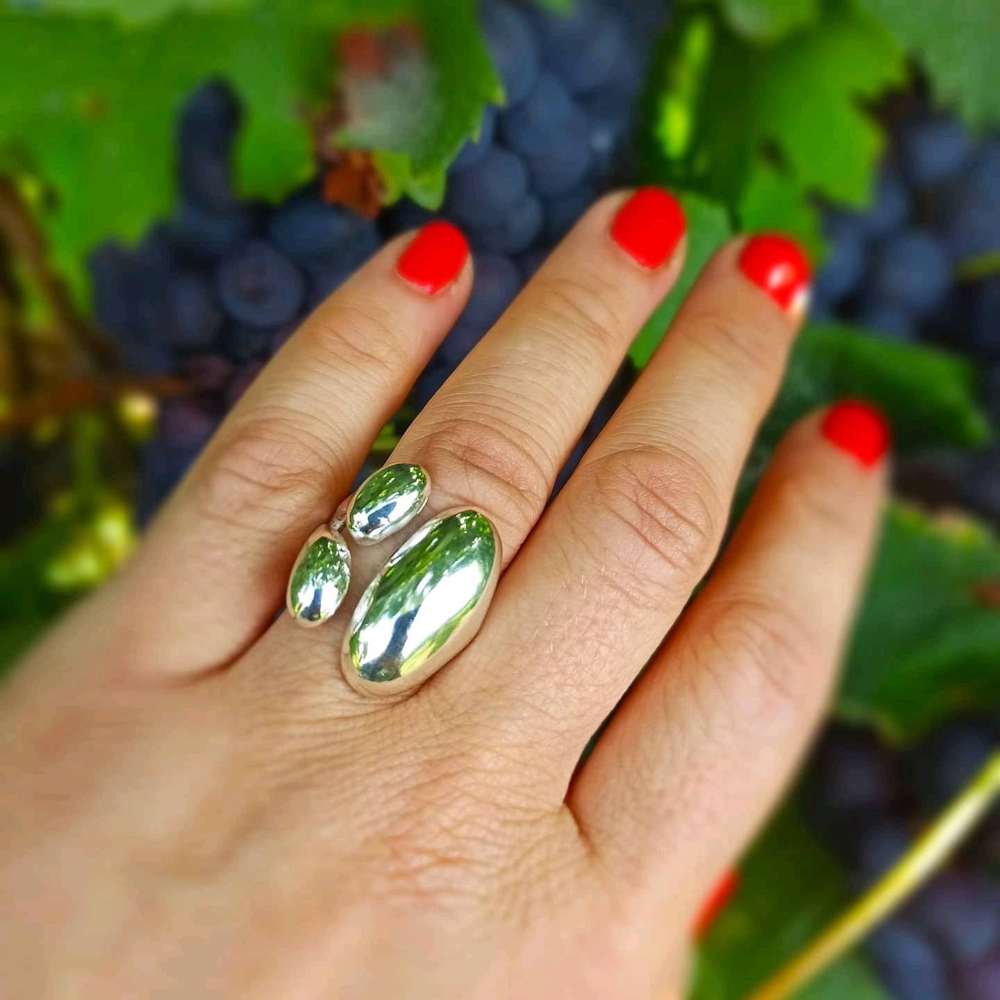 Large silver ring with original shape. Boho style ring, Rings, Turin,  Фото №1