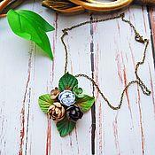 Украшения handmade. Livemaster - original item Pendant on a chain peonies beige blue with leaves. Handmade.