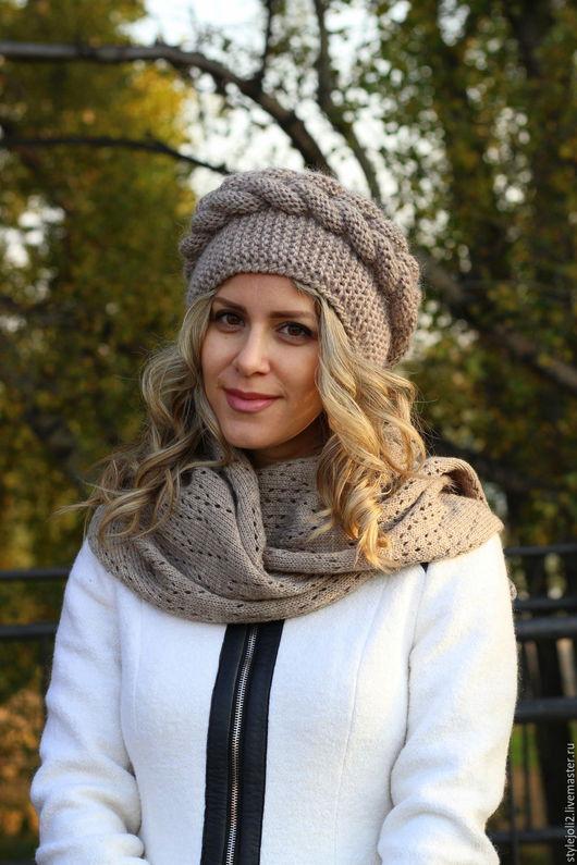 Шапки ручной работы. Ярмарка Мастеров - ручная работа. Купить Пушистая зима- комплект вязаный- шапка,шарф, варежки. Handmade.