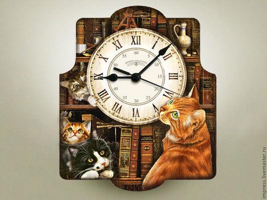 Часы для дома ручной работы. Ярмарка Мастеров - ручная работа. Купить часы настенные Коты в Библиотеке. Handmade. Часы