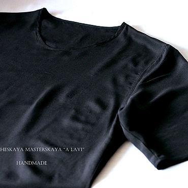 Одежда ручной работы. Ярмарка Мастеров - ручная работа Рубашки: Мужская футболка(топ) из натурального шелка. Handmade.