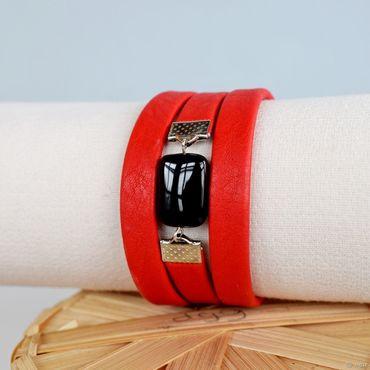 Украшения ручной работы. Ярмарка Мастеров - ручная работа Красный браслет кожаный красно-черный. Handmade.