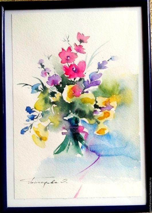 Картины цветов ручной работы. Ярмарка Мастеров - ручная работа. Купить Акварель Полевые цветы. Handmade. Лимонный, акварельные цветы