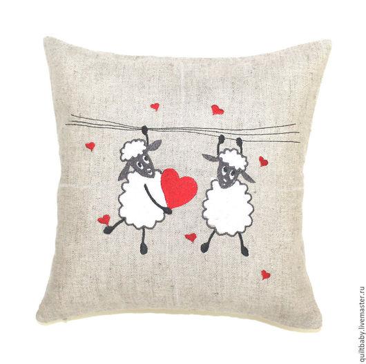 """Текстиль, ковры ручной работы. Ярмарка Мастеров - ручная работа. Купить Декоративная подушка """"Влюбленные овечки"""". Handmade. Разноцветный, овечка"""
