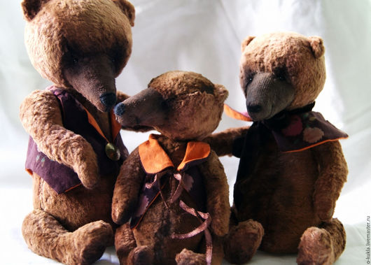 """Мишки Тедди ручной работы. Ярмарка Мастеров - ручная работа. Купить авторские медведи """"Три медведя"""". Handmade. Коричневый"""