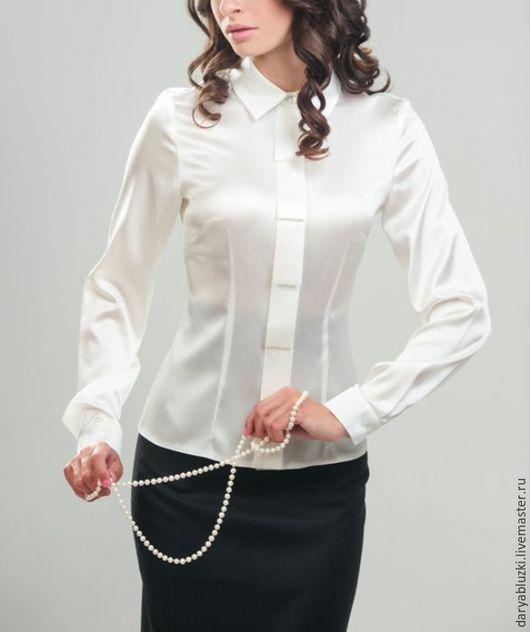 """Блузки ручной работы. Ярмарка Мастеров - ручная работа. Купить Блузка шелковая """"Офисный стиль"""". Handmade. Белый, однотонный"""