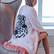 Одежда ручной работы. Ярмарка Мастеров - ручная работа Кардиган ЛЕОПАРД с перьями страуса. Handmade.