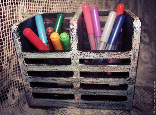 Детская ручной работы. Ярмарка Мастеров - ручная работа. Купить Подставка для карандашей. Handmade. Серый, карандашница деревянная, подарок