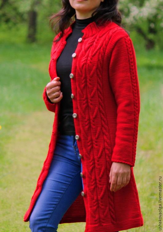 Верхняя одежда ручной работы. Ярмарка Мастеров - ручная работа. Купить Вязаное пальто-кардиган.. Handmade. Красный, кардиган спицами