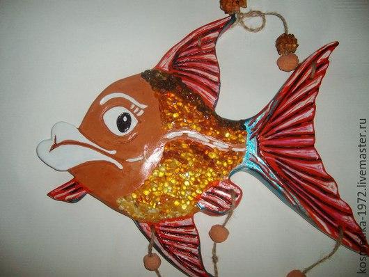Подвески ручной работы. Ярмарка Мастеров - ручная работа. Купить Рыба панно, подвеска на стену,керамика-янтарь.. Handmade.