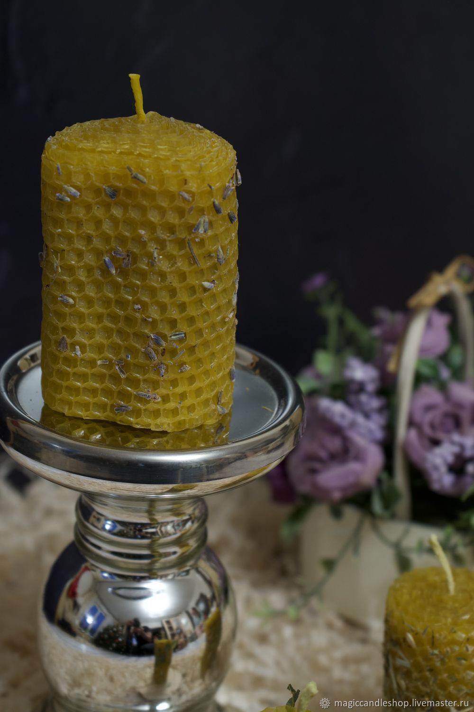 Свеча из вощины С ЛАВАНДОЙ, Ритуальная свеча, Москва,  Фото №1