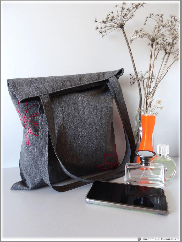 "Эко-сумка ""Эко-стиль"" - ручная вышивка, авоська, серая сумка"