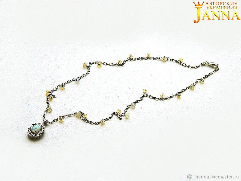 Opal. ' Inna' mini necklace Ethiopian opal, Necklace, Volgograd,  Фото №1