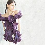 Аксессуары ручной работы. Ярмарка Мастеров - ручная работа Войлочный шарф Luxury Plum длинный фиолетовый. Handmade.