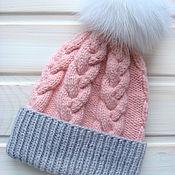 Работы для детей, ручной работы. Ярмарка Мастеров - ручная работа Зимняя шапка для девочки с меховым помпоном. Handmade.