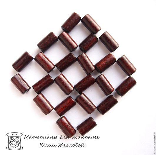 Для украшений ручной работы. Ярмарка Мастеров - ручная работа. Купить Бусины деревянные цилиндры 20х10 мм тёмно-коричневые. Handmade.