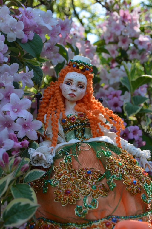 Коллекционные куклы ручной работы. Ярмарка Мастеров - ручная работа. Купить авторская будуарная кукла Елизавета. Handmade. Рыжий, текстиль