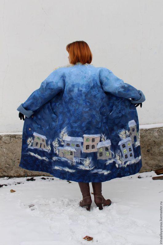 """Верхняя одежда ручной работы. Ярмарка Мастеров - ручная работа. Купить Валяное пальто """"Любимый город"""" зимнее. Handmade. Синий"""