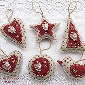 Подарки к праздникам handmade. Livemaster - original item Christmas decorations 6 pieces of felt Polka dots. Handmade.