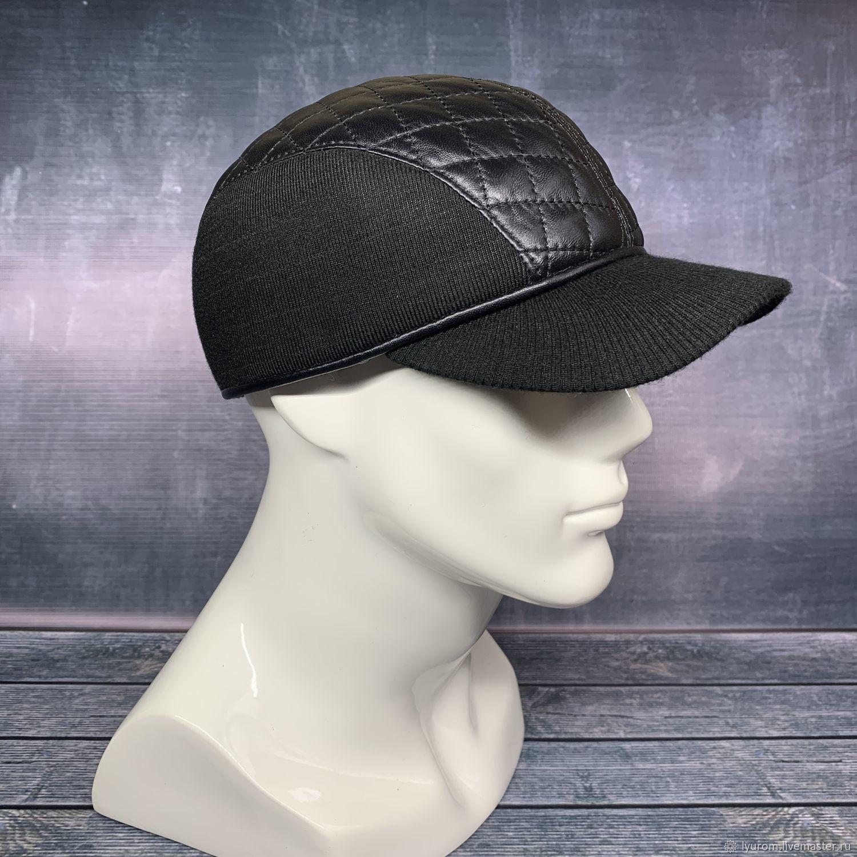 Demi-season black leather baseball cap, Baseball caps, Moscow,  Фото №1