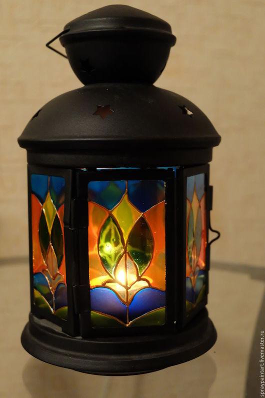 Подсвечники ручной работы. Ярмарка Мастеров - ручная работа. Купить Фонарь для греющей свечи - Узор. Handmade. Комбинированный, витражи