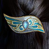 Hairpins handmade. Livemaster - original item Automatic barrette with selenium moonstone. Handmade.