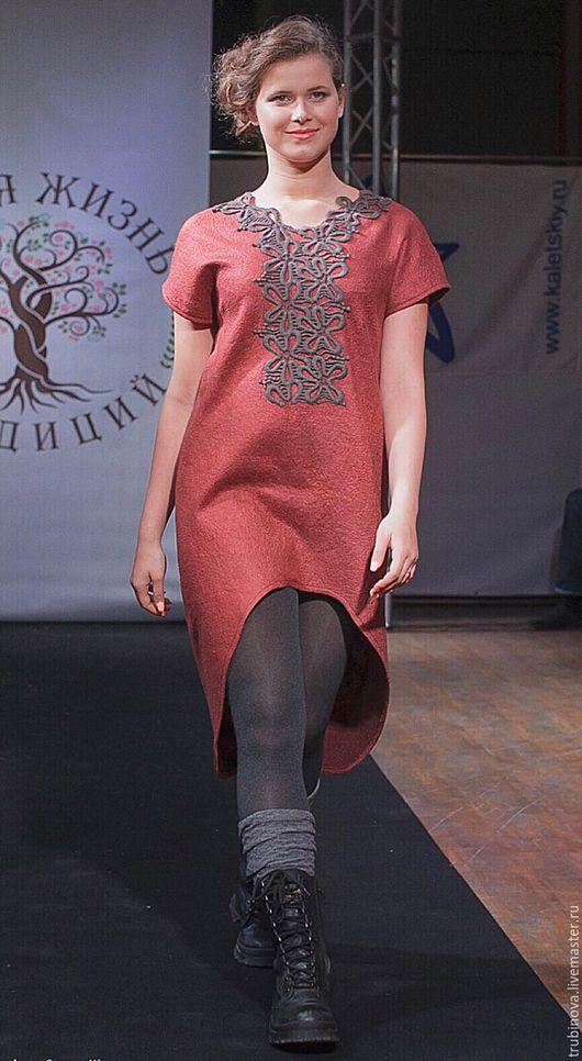 """Платья ручной работы. Ярмарка Мастеров - ручная работа. Купить Платье """"Горожанка"""". Handmade. Рыжий, войлок, платье-туника"""