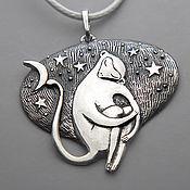 Подарки к праздникам ручной работы. Ярмарка Мастеров - ручная работа кулон из серебра с обезьянкой Ноченька. Handmade.