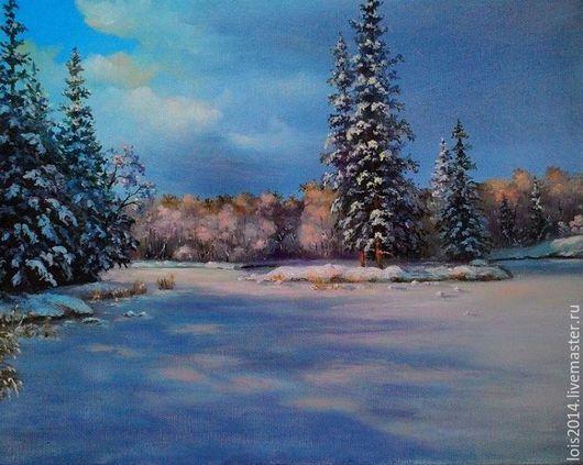 Пейзаж ручной работы. Ярмарка Мастеров - ручная работа. Купить Зимний день. Handmade. Голубой, ели, пруд, Снег