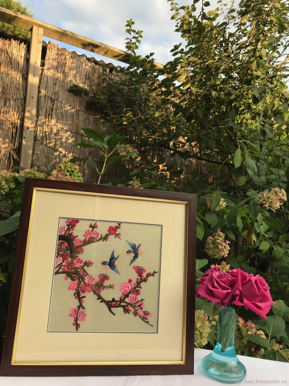 Embroidery 'Sakura', handmade, Holland, Vintage interior, Arnhem,  Фото №1