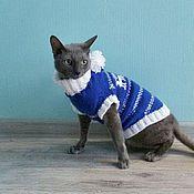 Для домашних животных, ручной работы. Ярмарка Мастеров - ручная работа Свитер с оленями для кошки. Синий.. Handmade.