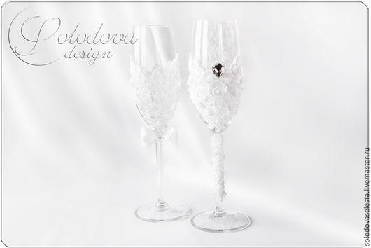 "Свадебные бокалы "" Мадемуазель и Джентльмен"" Бокалы на свадьбу,бокалы для свадьбы,свадебные бокалы ручной работы,бокалы для молодоженов."