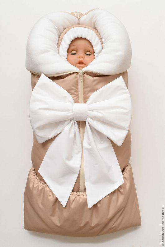 Для новорожденных, ручной работы. Ярмарка Мастеров - ручная работа. Купить Конверт на выписку. Handmade. Бежевый, для новорожденного, фланель