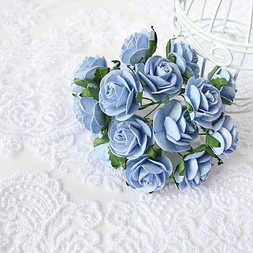 Цветы и флористика ручной работы. Ярмарка Мастеров - ручная работа Бумажные цветы Голубые 2,5 см Бумажные розы для скрапбукинга. Handmade.