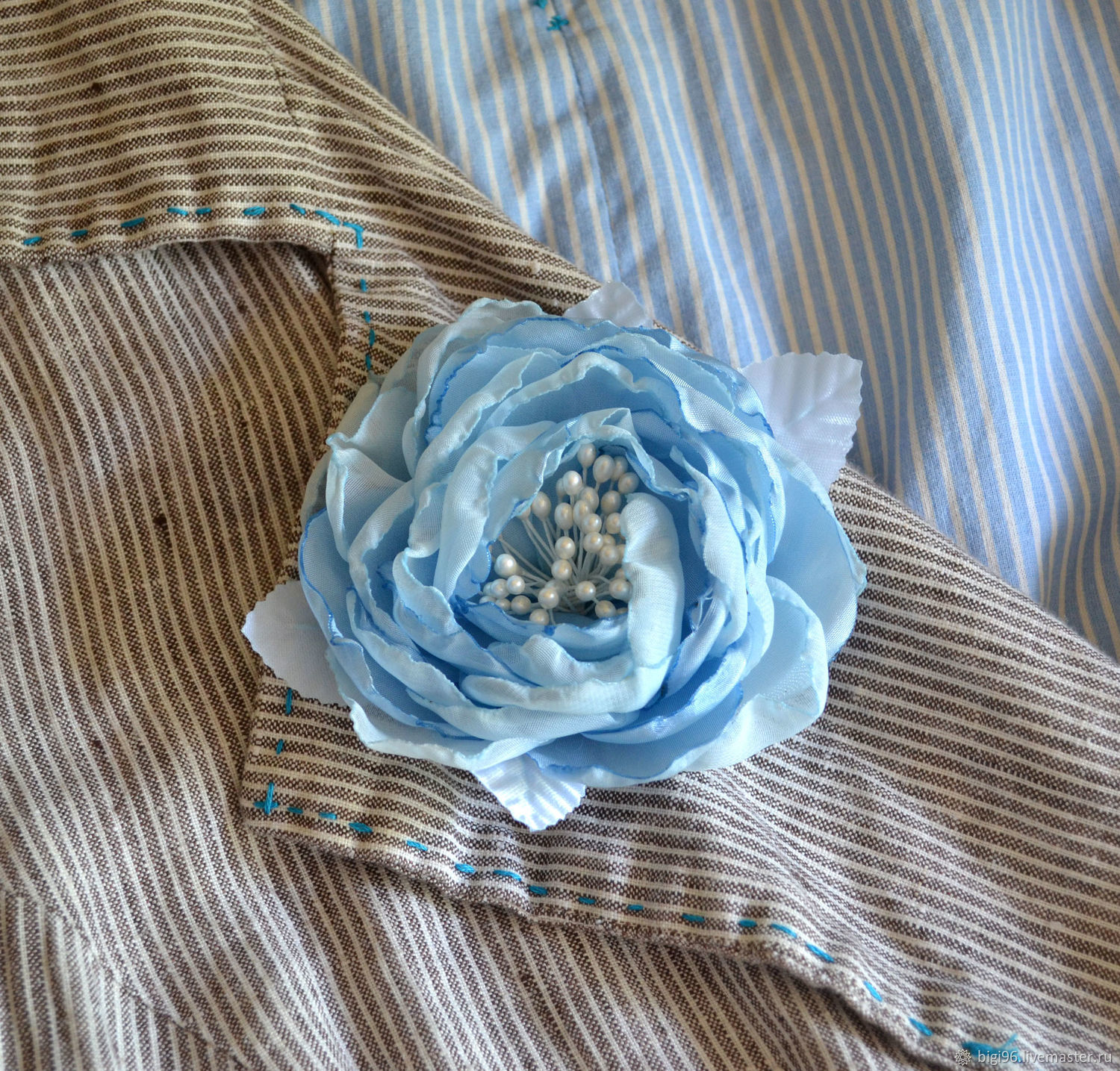Rose brooch 'Blue', Brooches, Moscow,  Фото №1