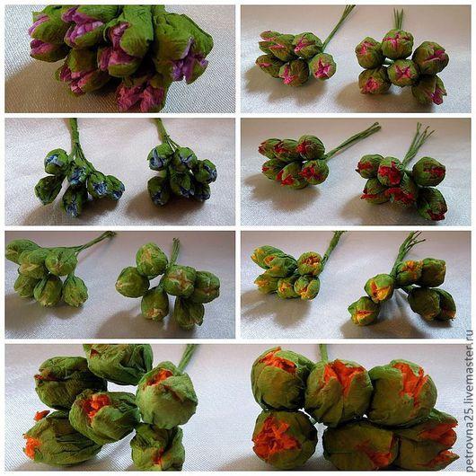 Другие виды рукоделия ручной работы. Ярмарка Мастеров - ручная работа. Купить Бутоны бумажные 7 расцветок (6 шт). Handmade.