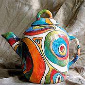 Посуда ручной работы. Ярмарка Мастеров - ручная работа Чайный сервиз - Чайник и чашки керамические лепные. Handmade.
